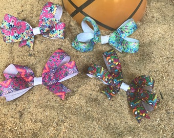 Lilly Pulitzer inspired hairbows, back to school hairbows, boutique hairbow