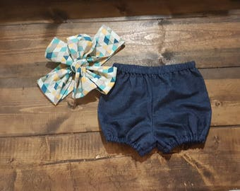 Blue Jean bloomers Outfit Headwrap Bloomer Set Black Headband Baby Bubble Shorts Denim Shorts