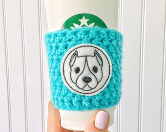 Pit Bull Cup Sleeve, Pit Bull Coffee Cozy, Pit Bull Gift