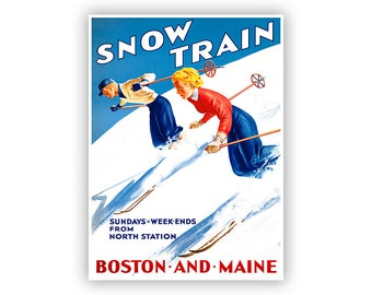 Snow Train Ski Poster, Maine and Boston Railroad Tourism Art, Vintage Style Print, Multiple Size Options