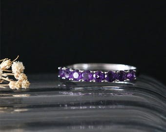 Feb Birthston Wedding Ring 14K White Gold Amethyst Wedding Ring Half Eternity 8pcs Amethyst Ring Gemstone Engagement Ring Bridal Ring