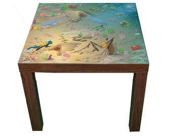 Ocean Play mat furniture print - Children's Ikea hack for Lack play table - Furniture not included.