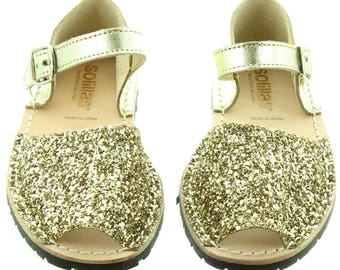 Solillas Gold Glitter Bebe Girls Sandals