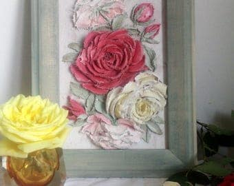 Sculptural painting  Roses , Painting decorative plaster , Unique gift , Handmade