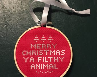 "Home Alone Quote Cross Stitch - ""Merry Christmas Ya Filthy Animal"" - Finished Cross Stitch - Funny Cross Stitch - Christmas Cross Stitch"