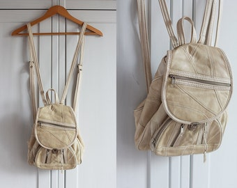 1990s backpack 90s beige leather bag Small size vintage bag Retro 1990 summer festival Coachella festival boho accessories