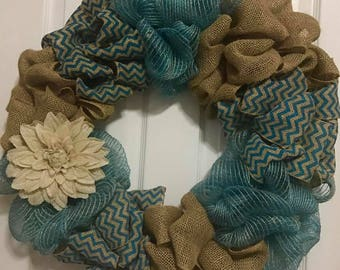 Teal Chevron Burlap Flower