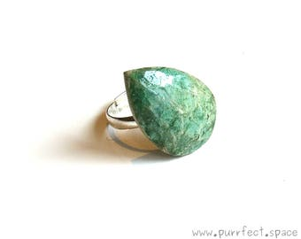 Diamond Drop Shaped Ring, Sea Green and Aquamarine Ceramic Ring, Mermaid Ring, One-of-a-kind-Ceramic, PurrfectSpace