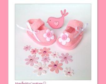 Handmade baby shoes, felt baby shoes, newborn baby booties, preemie baby gifts, baby shower gift, baby girl, baby keepsake