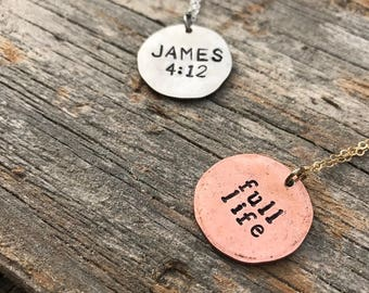 28 in. Metal Stamped Coin Necklace Customizable