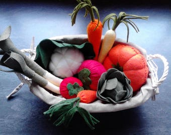 Complete KIT with instructions, bosses, felt, yarn to make your vegetables felt for dinette