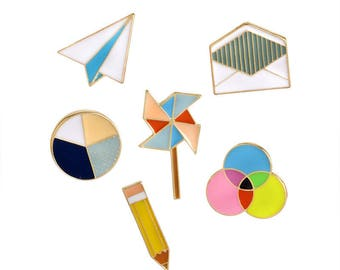 Enamel Stationery Pin Set of 6, Paper Airplane, Envelope, Venn Diagram, Paper Windmill, Pencil, Pie Chart, High School Enamel Pins Set of 6.