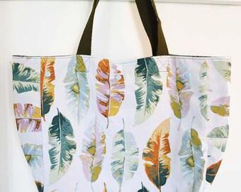 "Shopping bag / handbag / purse green, pink and orange vegetables ""feathers"""