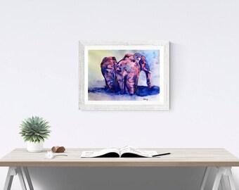 ELEPHANT ART PRINT - Elephant print, elephant watercolor painting, elephant, gift
