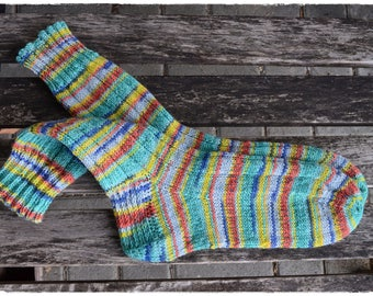 Hand knit socks women size UK 4,5-6, US 7-8, OPAL Safari ∞ Tansania