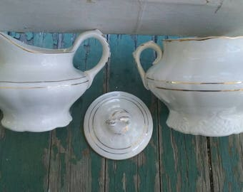 Antique Vintage Victorian white with gold porcelain covered sugar and cream pitcher set