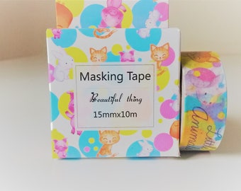 Kawaii washi tape, animals washi tape, masking tape, adhesive tape, decorative tape, scrapbooking tape