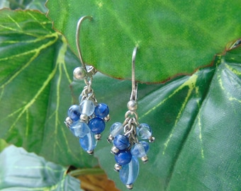 Vintage earrings, p 925, sterling silver, dangle cluster, shipped free