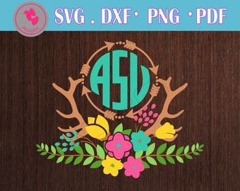 antler svg antler svg file antler dxf antler svg files for crciut antler monogram svg antler monogram dxf flower svg flower svg file flower