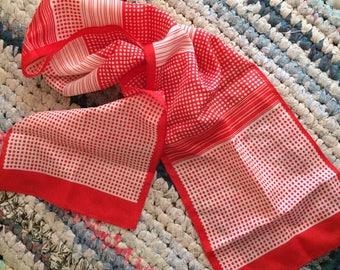 Vintage Summer Scarf | Hair Kerchief | Polk-a-dot Lightweight Scarf