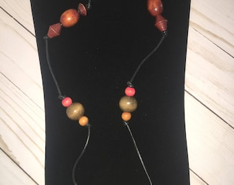 Wooden Beaded Cord Necklace