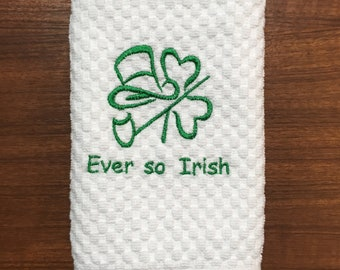 Embroidered  white cotton towel Irish design; terrycloth hand towel  or kitchen towel; striped plain weave Murphy personalized