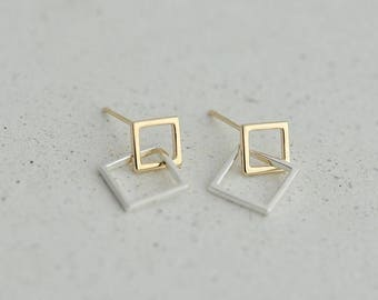 925 Silver Geometric Squares Earrings / Silver Earrings / 92.5 Sterling Silver / Square Earring