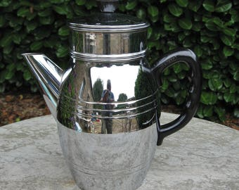 A Nice French Menesa  Chrome Coffee pot / Cafetiere With Bakelite Handle