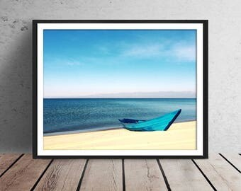 Tropical Painting, Paradise Art, Beach Artwork, Painting of boat, Secluded Beach Prints, coastal beach Painting, Ocean Art, White Sand