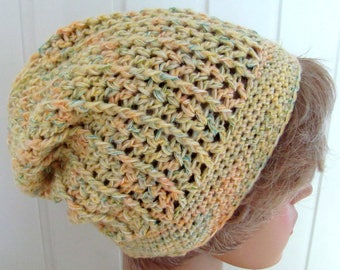 Beany hat in yellow - colored, crocheted