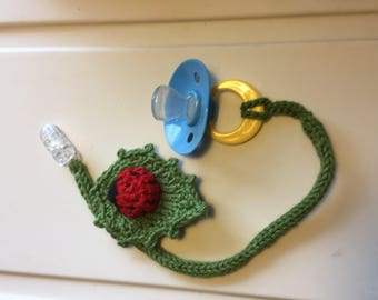 Ladybug on a Leaf Pacifier Clip (binkie not included)