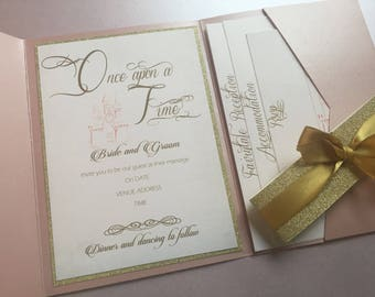 SAMPLE, Blush And Gold Invitation, Be Our Guest, Fairytale Wedding  Invitation, Once