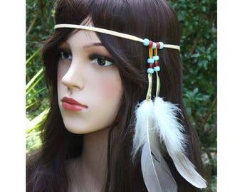 Hippie headband boho tribal native american style feather hair piece hair extension beaded feather head band handmade leather hair tie