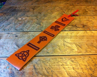 Celtic leather bookmark