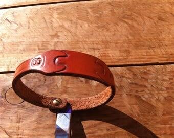 """leather """"key 8"""" bracelet 19cm"""