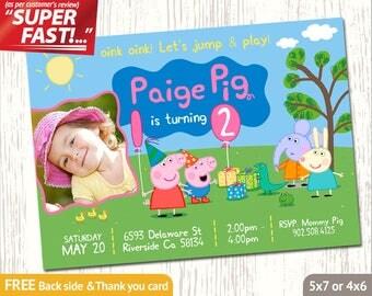 PEPPA PIG INVITATION with photo, Peppa Pig Birthday Invitation, Peppa Pig Invite, Peppa Pig Party Invitation, Peppa Pig Thank You Card, v6u