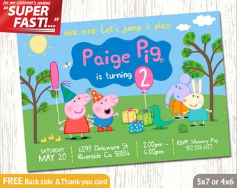 PEPPA PIG INVITATION, Peppa Birthday Invitation, Peppa Invitation, Peppa Party Invite, Peppa Invite, George Pig Invite, George Invite, v2u