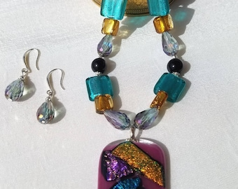 Multi-color glass necklace and earring set
