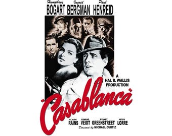T-SHIRT: Casablanca / Film Poster - Classic T-Shirt & Ladies Fitted Tee - (LazyCarrot)