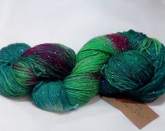 Socks wool with glitter hand dyed