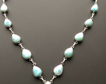 Larimar Sterling Silver Necklace Dominican Republic ~ The Dolphin Stone ~ 35gm
