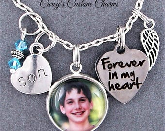 Son Memorial Keepsake Photo Charm Necklace, Personalized Birthstone, Sympathy Gift, Forever In My Heart, Angel Wing, Picture, Loss Of Child