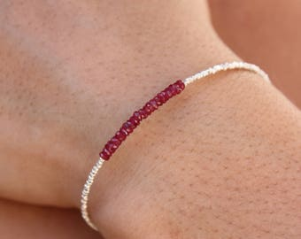 Ruby Bracelet-Sterling Silver Beads-Beaded Bracelet-Genuine Red Ruby-Delicate silver Bracelet-Rare Ruby Bracelet-AAA Quality Ruby Bracelet