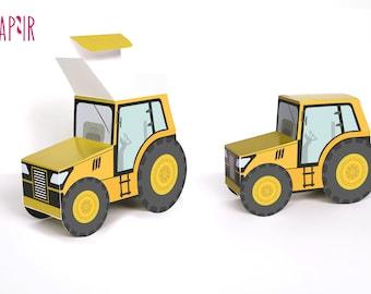 Tractor Birthday Gift Box | tractor box birthday, farm tractor, tractor ornament, tractor gifts, gift box, yellow tractor, farm box