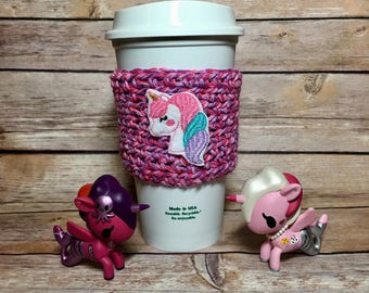 Magical Unicorn cup cozy, coffee cup cozy, crochet cup cozy, coffee cup sleeve, crochet cozy, crochet cozie, Starbucks Dunkin coffe