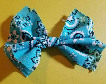 Shabby Chic Teal Paisley Bow Clip