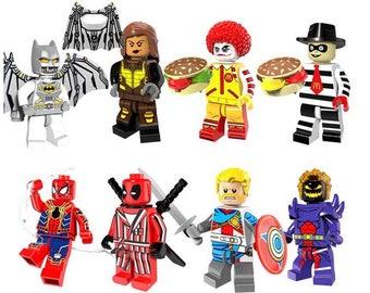 Batch of 8 figures Lego Super Heroes (Batman, Spider-Man, Ronald McDonald, Deadpool, Dormammu) customized