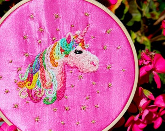 Sparkly Rainbow Unicorn Handmade Embroidery