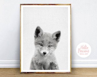 Nursery Decor Fox Print, Woodland Nursery Animal, Digital Print, Fox Wall Art, Fox Print, Instant Download Printable Art, Printable Wall Art
