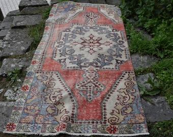 Tribal Rug Vintage Oushak Free Shipping Rug 3.8 x 7.3 feet Pale Color Floor Rug Handknotted Wool Area Rug Bohemian Rug Ethnic Rug